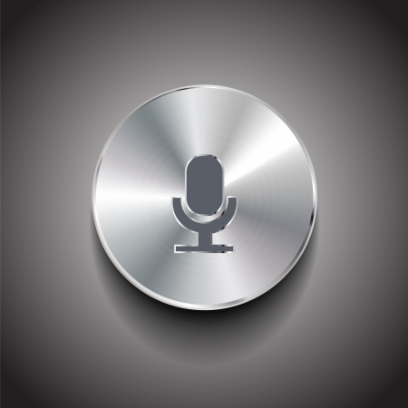 brushed metal microphone button Vector