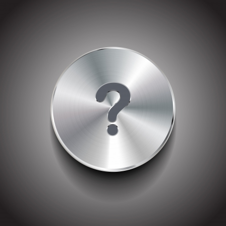 question mark brushed metal button Vector
