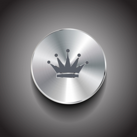 brushed metal crown button Vector