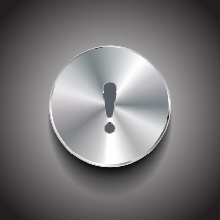 brushed metal exclamation mark button Vector