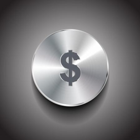 silver coins: Vector dollar metal button