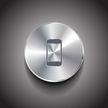 phone button: Vector metal smart phone button Illustration