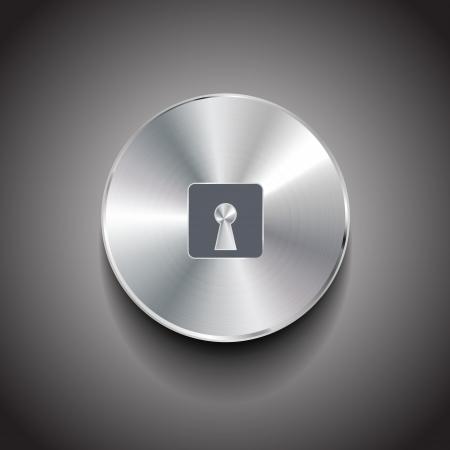 security door: Lock metal vector button Illustration