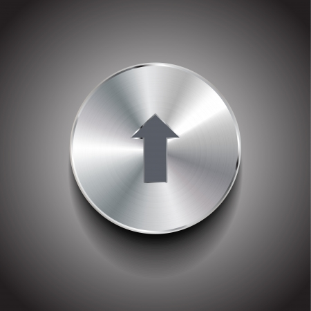 Vector upload arrow metal button