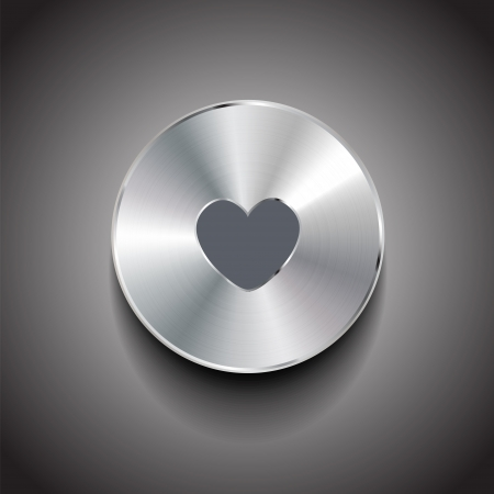 Vector metal heart button Stock Vector - 18630138