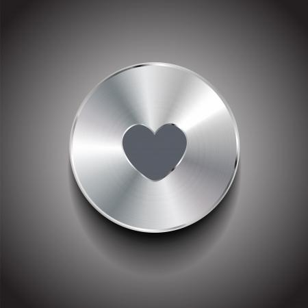 Vector metal heart button Stock Vector - 18630138