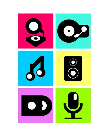 speakerphone: Vector neon colored music icons: record player, note, microphone