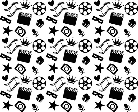 Seamless black and white cinema pattern Vector