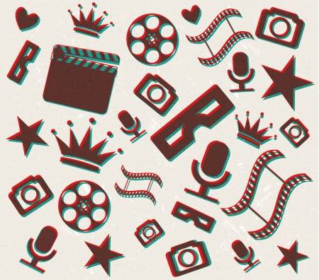 Retro 3d cinema background Vector