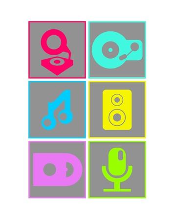speakerphone: Neon colored flat design music icons Illustration