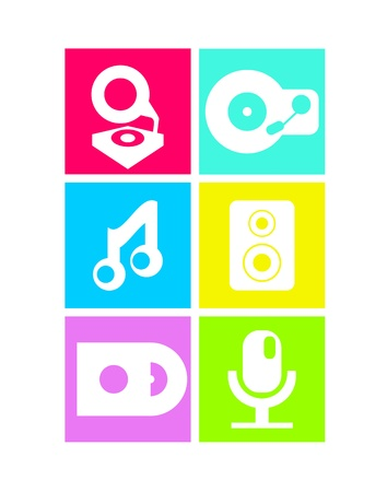 speakerphone: Neon colored music icons: record player, note, speakers and microphone Illustration