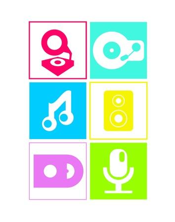 speakerphone: Music icons in neon colors: flat design