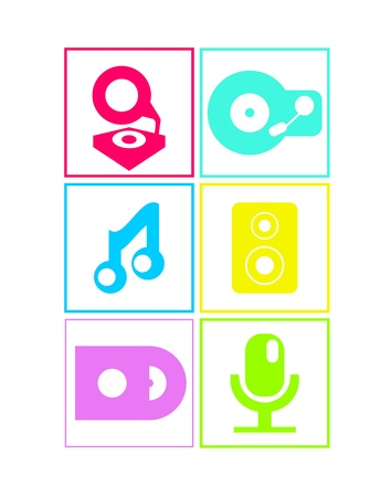 speakerphone: Neon colored music icons set