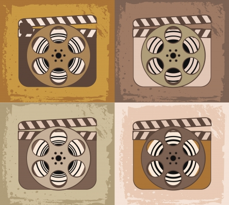 Grunge retro cinema icons: film reel with clapperboard Vector