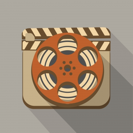 Flat long shadow cinema icon: film reel with clapperboard Vector