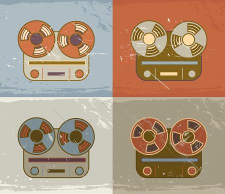 magnetofon: Retro vintage grunge bębnowy na rolce taśmy rejestratora ikonę