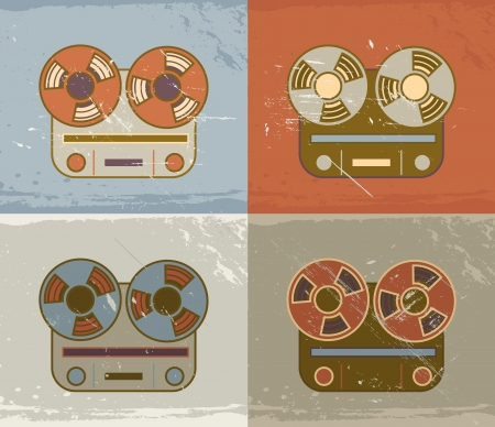 Retro vintage grunge reel to reel tape recorder icon Vector