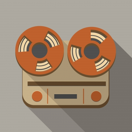 magnetofon: Retro Vintage Reel to Reel magnetofon ikony
