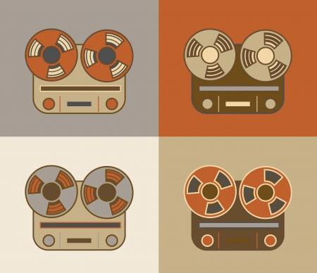 magnetofon: Retro grunge kołowrotek na rolce ikonę magnetofon