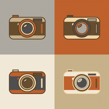 Flat vintage retro camera icons Vector