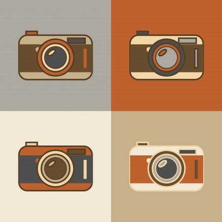 hosszú expozíció: Lapos vintage retro kameraikonokat