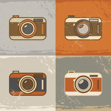 hosszú expozíció: Grunge retro kamera ikonok vintage színek Illusztráció