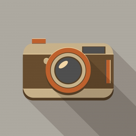 Flat long shadow vintage camera icon Vector