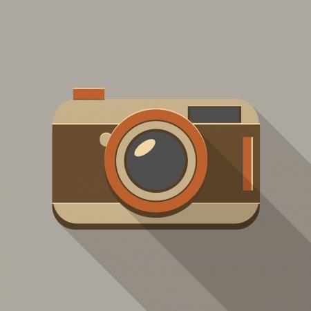 hosszú expozíció: Lapos hosszú árnyéka vintage fényképezőgép ikonra
