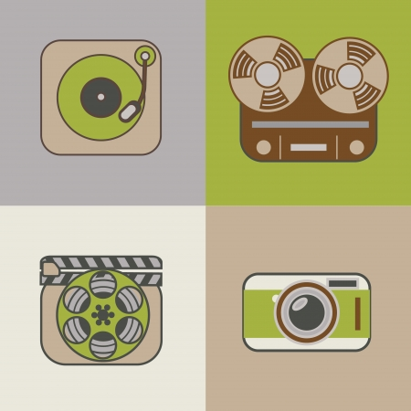 Retro flat arts icons: movie, music and photography Vector