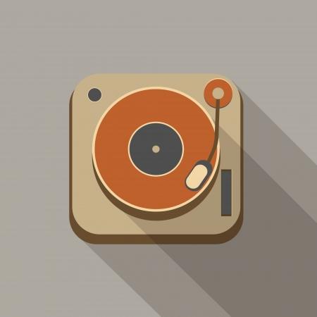 gramophone: Retro vintage record player icons