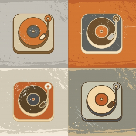 Retro vintage record player icons Vector
