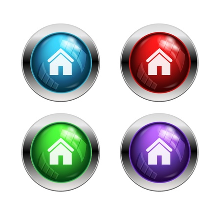 Shiny home buttons: red, green and blue Vector