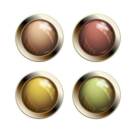 old pc: Old shiny glossy metal buttons Illustration