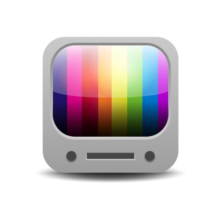Rainbow colored tv set application icon Vector