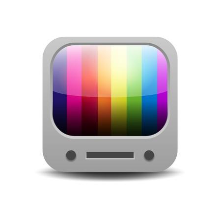 tv screen: Rainbow colored tv set application icon Illustration