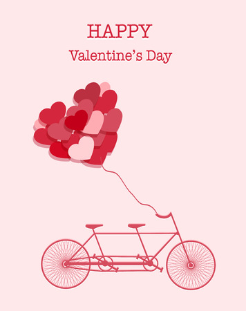 Happy Valentines Day colorful pink bicycle background photo