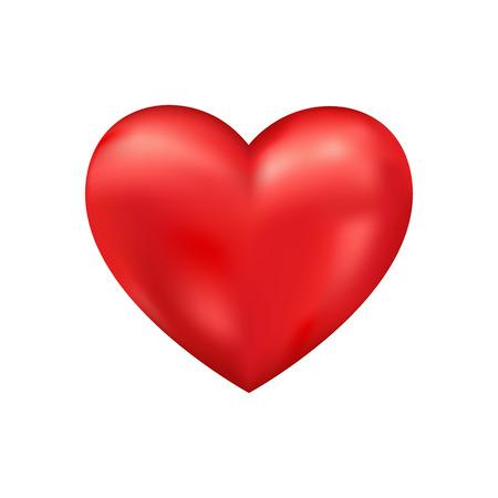 光沢のある 3 d ベクトルの心です。バレンタインのロマンチックな背景