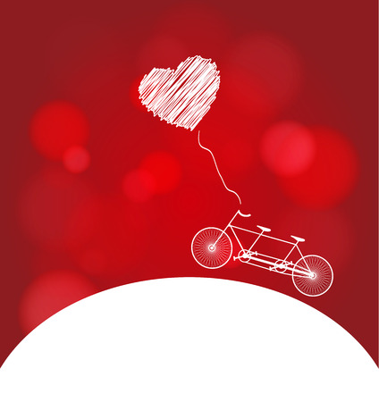 Romantic bicycle heart red and white background photo