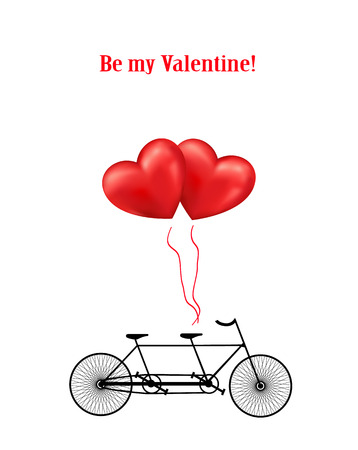 Bicycle and heart balloons Valentines background photo