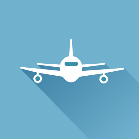 plane icon: Flat long shadow air plane icon Stock Photo