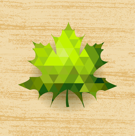 Green maple leaf on abstract wooden  photo
