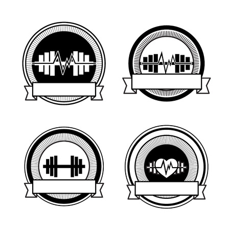 Healthy sports heart, barbells and pulse pictogram photo