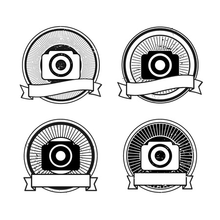 Set of camera badges: black and white colors photo