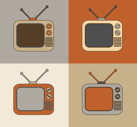 Retro vintage colorful technology TV set icons photo