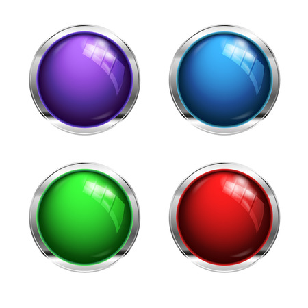 shiny buttons: Shiny blank buttons: red, green and blue Stock Photo