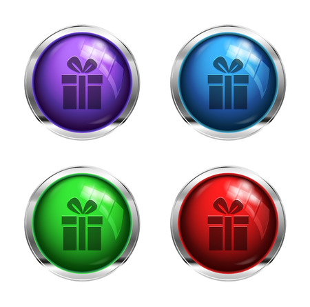 shiny buttons: Shiny gift box buttons: purple, green, red and blue