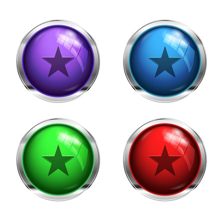 strat: Glossy strat buttons: red, green, blue and purple