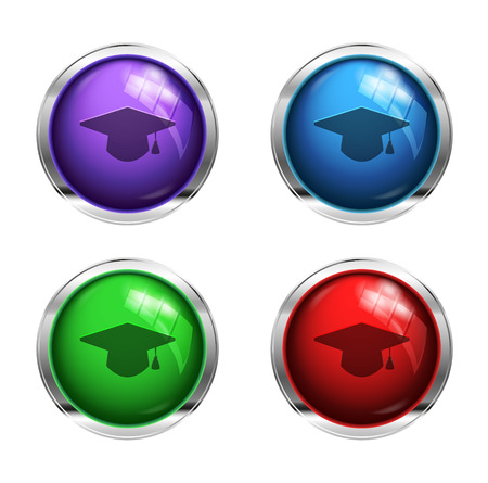 Glossy graduation cap buttons: red, green, blue and purple photo
