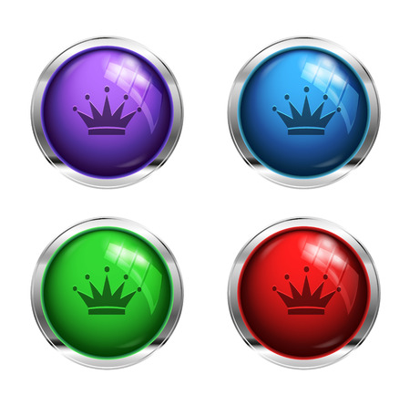 shiny buttons: Shiny crown buttons: red, green, blue and purple