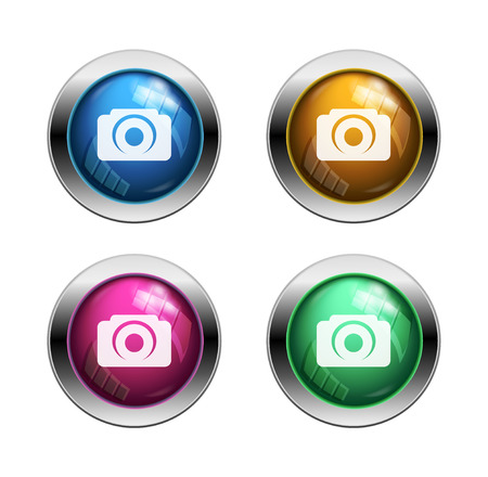 White camera icon buttons: blue, yellow, pink, green photo